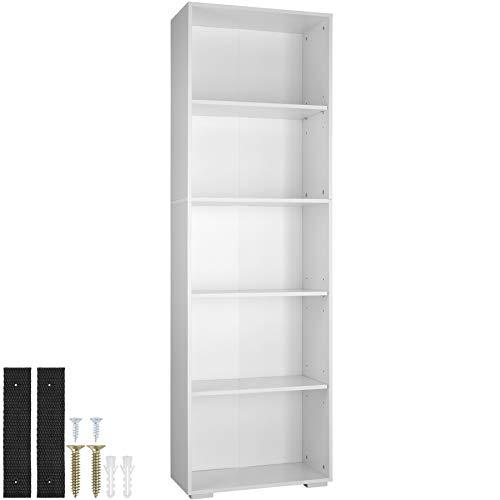 tectake 800842 Bücherregal aus Holz, Standregal mit 5 offenen Fächern, (BxTxH): ca. 60 x 30 x 190 cm, bodenschonende Kunststofffüße (Weiß)