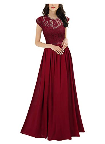 MIUSOL Damen Elegant Ärmellos Rundhals Vintage Herbst Winter Hochzeit Chiffon Faltenrock Langes Kleid Rot Gr.S