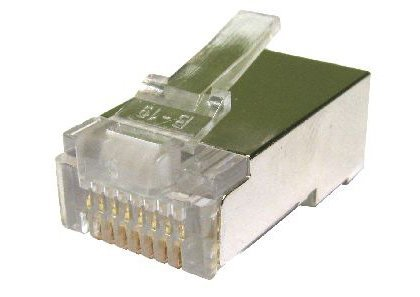 World of Data RJ45 Plug (Gehield) - 50 Microns - Gouden Pinnen - 3 Prongen op pinnen - Afgeschermd