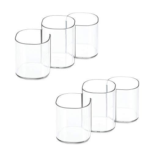 iDesign 30720M2 Clarity Plastic Divided Vanity, Multi-Level Bathroom Accessory Organization, Trio Cup - Set of 2, 2 Count