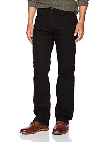 Wrangler Authentics Men's Regular Fit Comfort Flex Waist Jean, Black, 32W x 32L