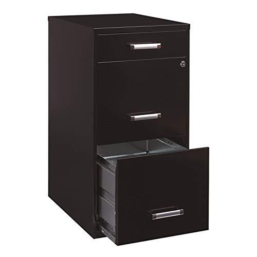 "Scranton & Co 18"" Deep 3 Drawer Metal File Organizer Cabinet in Black"