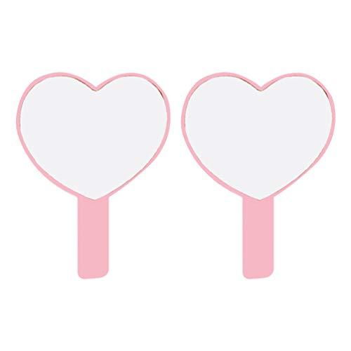 Lurrose 2Pcs Miroir de Poche Petit Miroir de Maquillage en Forme de Coeur Miroir de Voyage en Plastique Portable pour Femmes (Rose)