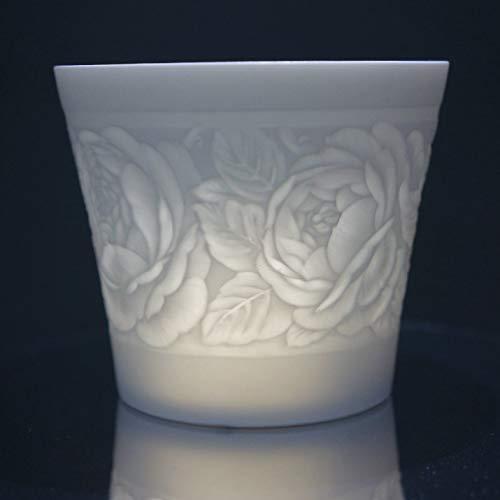 Porzellan - Windlicht - Rose Lithophanie - Teelicht Porzellan - Tischlicht