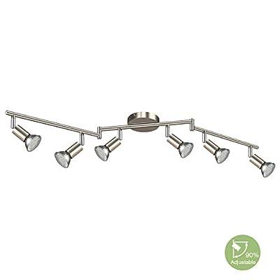 Creyer LED Track Lighting, 6-Light Ceiling Spot Lighting, Flexibly Rotatable Light Head,Modern Light Fixture Wall Accent Spotlight, Matt Nickle, GU10 Socket (Bulbs Not Included)