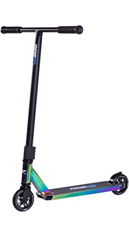 Rideoo Flyby Complete Stunt Scooter Patinete Freestyle Para Niños, Abrazadera Con 4 Tornillos (Muy Duradero) (Vivid Neochrome) + Pegatina