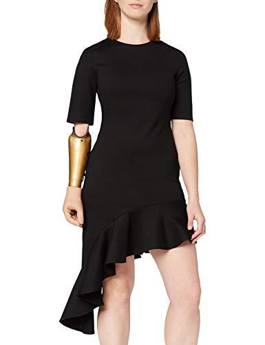 Marca Amazon - find. Vestido con Volante en el Bajo para Mujer, Negro (Schwarz), 38, Label: S