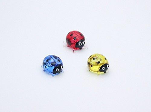 ChangThai Design Miniature Hand Blown Art Glass Ladybug Figurine Animal Hand Paint Blown Glass Decorate Collectible Gift