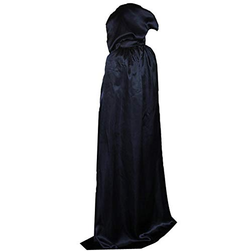 BJ-SHOP Halloween Umhange,Schwarzer Umhang Long Black Cloak Unisex Robe Umhang fur Erwachsene Kinder