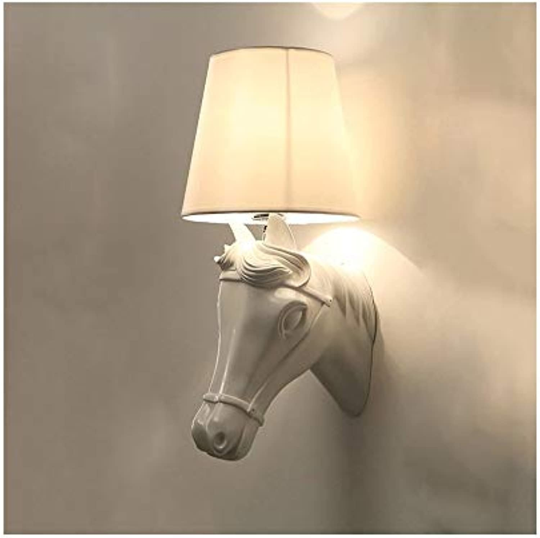 XH shop Nordische Gastrestaurantschlafzimmernachtwandwandlampe moderner minimalistischer Gang kreative Persnlichkeitstierpferdekopf-Wandlampe (Farbe   Weiß)
