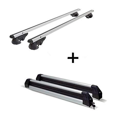 Relingträger VDP004 XL + Skiträger/Snowboardträger/Skihalter Silve Ice ausziehbar kompatibel mit Porsche Cayenne ab \'10