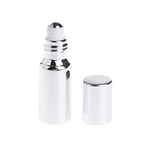 DDSP Mini botella de cristal vacía de 5 ml/10 ml de aceite esencial de perfume atomizador rellenable (color: plateado 5 ml)