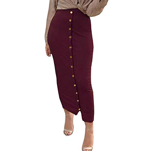 Artfish Women's Bodycon Fitted Midi Length Skirt Elegant for New Years Eve Party Red Burgundy,XL