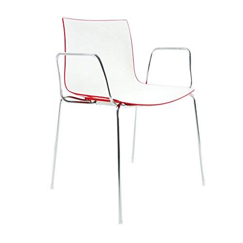 arper Catifa 46 0251 Armlehnstuhl zweifarbig Chrom, weiß rot Außenschale glänzend innen matt BxTxH 56,5x50,5x80cm Gestell Stahl vechromt