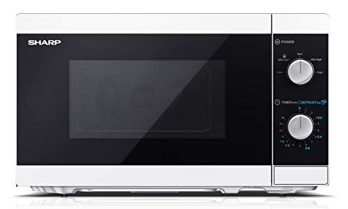 SHARP YC-MS01EW Mikrowelle mit Auftaufunktion/ 800 Watt/ 20 Liter/ 5 Leistungsstufen /Inkl. Drehteller, Mechanische Steuerung