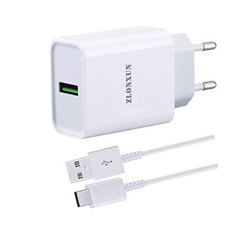 ZLONXUN Cargador rapido con Cable USB C para Xiaomi Mi 9/10/Note 10/A3/9 Lite/10 Lite/9 SE/9 Pro/8/9T/8 Pro/8 Lite,Xiaomi Redmi 8/9/8A/Note 8/Note 9/Pro/Note 7