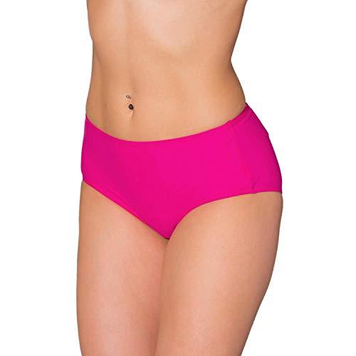 Aquarti Damen Bikinihose mit Mittelhohem Bund, Farbe: Pink, Größe: 40