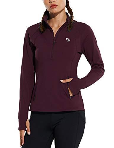 BALEAF Women's Fleece Half Zip Running Pullover Long Sleeve Thermal