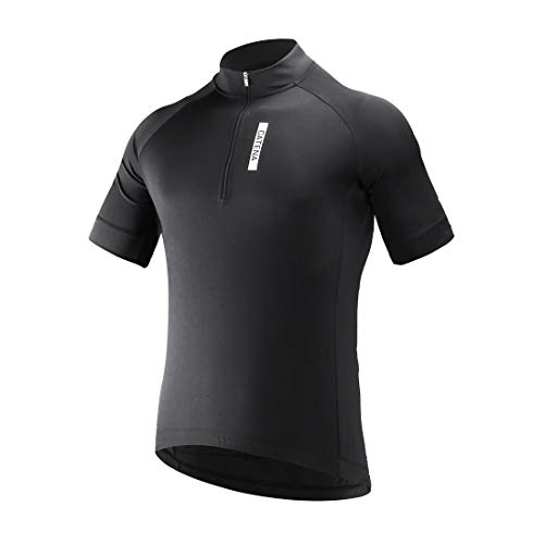 CATENA Men's Cycling Jersey Short Sleeve Shirt Running Top Moisture Wicking Workout Sports T-Shirt Black, Small