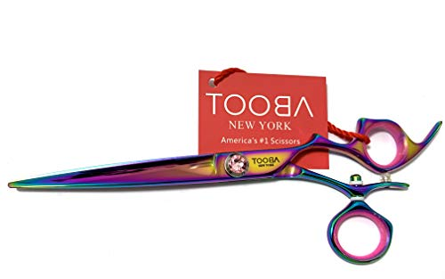 TOOBA 6.5' Professional Hair Cutting Swivel ring Shears-Barber Hairdressing Salon Scissor-Titanium Plated 440 C Japan Stainless Steel Razor Edge Shear with Leather Case