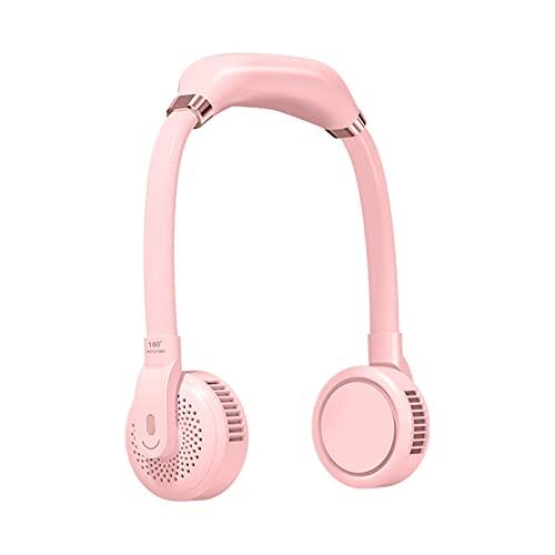 fuchsiaan Mini ventiladores personales portátiles, ventilador colgante de cuello colgante 3 engranajes USB colgante ventilador de refrigeración para coche al aire libre - rosa
