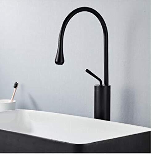 Grifo de lavabo giratorio caliente y frío agitador de latón total monomando lavabo de baño estante cepillo negro oro negro-negro_long,U3DNVTA3W5OUR