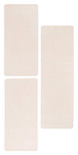 andiamo Bettumrandung Meliert Einfärbig 100% Schurwolle Teppich Bett Schlafzimmer, Farbe:Creme, Größe:3-teiliges Set