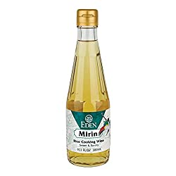 EDEN BRAND MIRIN RICE COOKING WINE IN CLEAR BOTTLE WITH YELLOW LIQUID
