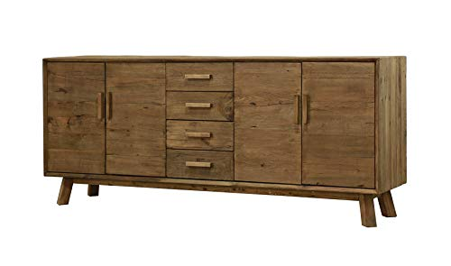 Aparador de 4 puertas y 4 cajones, 200 cm, de pino reciclado, mueble decorativo de montaña rústica, colección Chalet