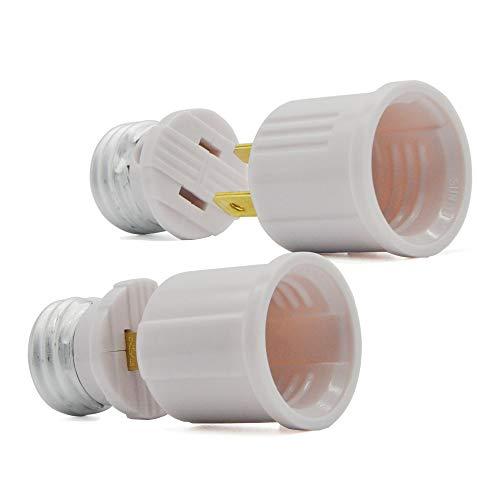 Light Bulb Socket to Outlet Adapter, Plug-in Light Socket Kit,US Regular Screw Socket Extender, Lamp Holder Handy Outlet Adapter,No Wiring Need for Plug Connection,UL Listed (2-Kit)