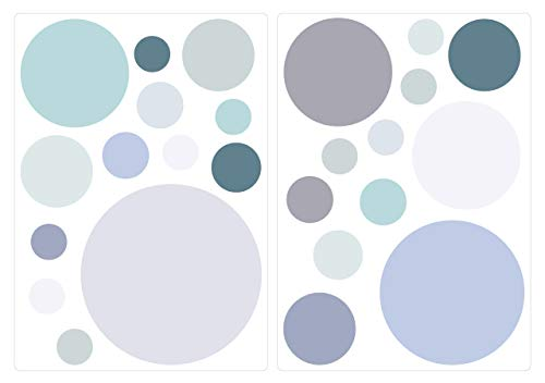 dekodino Sticker Mural kit Cercles en Bleu Gris et Vert Pastel Tons Points Coller