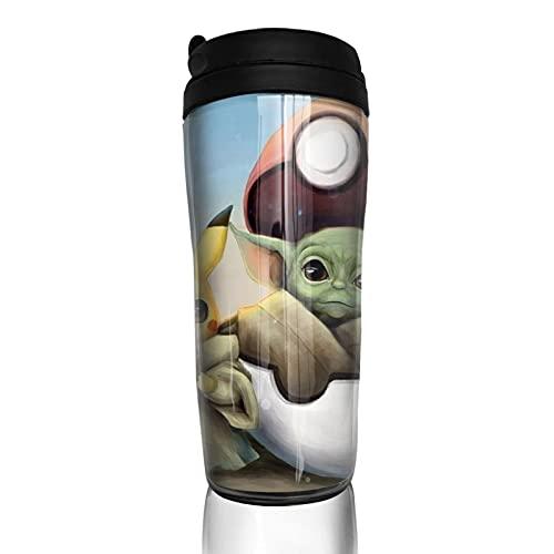 Baby Yoda Star The Wars Pik-achu Taza de café para hombres y mujeres, aislamiento de agua, para viajes, oficina, trabajos al aire libre, regalo de cumpleaños, capacidad de 12 onzas