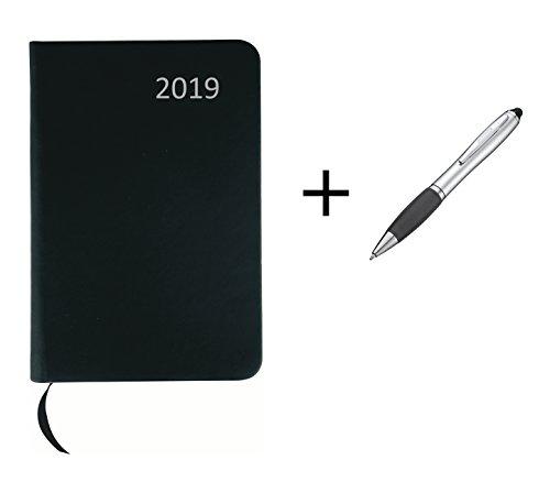 Taschenkalender 2019 / ca DIN A7 / mit PU Einband / Farbe: schwarz + Touchpen Kugelschreiber