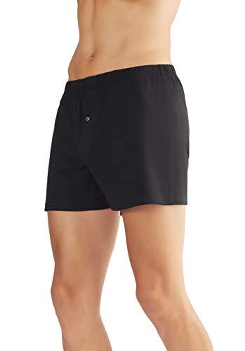 ALBERO 2 er Pack Herren Boxershorts Bio-Baumwolle Locker Unterhose mit Eingriff 2134 (L, schwarz)
