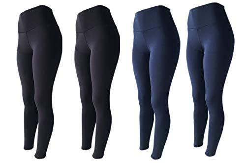 KIT 4 Legging Fitness Suplex Lisa ou Estampada PRETO-PRETO-AZUL-AZUL G
