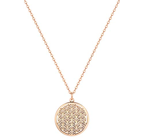 Happiness Boutique Collar con colgante de flor de la vida para mujer, de oro rosa, joyería de acero inoxidable
