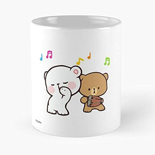 Mocha Cute Milk Teddy Bears Cuddly Gif Lovely Best Mug holds hand made from marble ceramic, Gift For Family members, and Friends