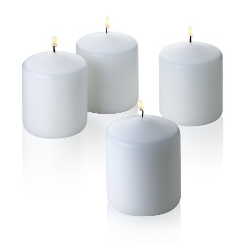 (White) - 4 White Pillar Candles 3x3 Unscented. Burn Time 50 Hours