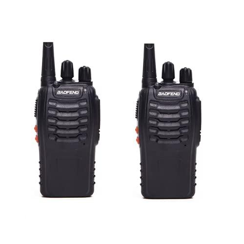 Juego de 2 4 Walkie Talkie Profesional Recargable 16 Canales CTCSS DCS Radiocomunicación 1500mAh con Cargador (Juego de 2 terminales)