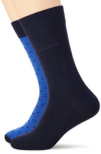 GANT Herren 2-Pack SOLID and DOT Klassische Socken, Crisp Blue, Onesize