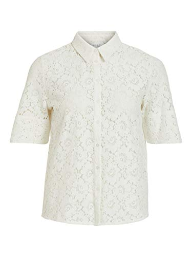 Vila Clothes Damen VISULACEY 2/4 Shirt/SU Bluse, White Alyssum, 38