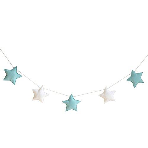Homeofying Nordic - 5 adornos para colgar con diseño de estrellas, banderines para fiestas infantiles, decoración para habitación de bebé, niños o niñas, tela, Green + White