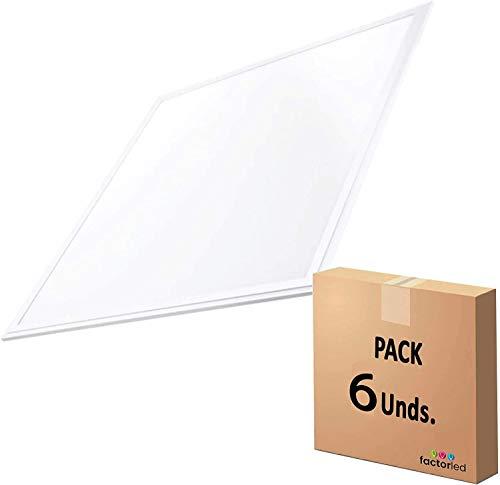FactorLED Pack x6 Panel LED 60x60 cm 44W, 6 unidades Lampara LED...