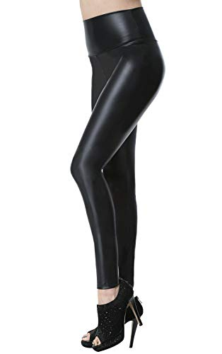 Everbellus Faux Leather Leggings for Women High Waist Skinny Leather Pants Black Small