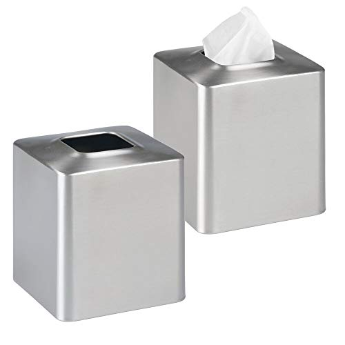 MetroDecor mDesign Facial Tissue Box CoverHolder for Bathroom Vanity Countertops - Pack of 2 Brushed Stainless Steel