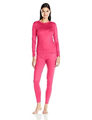 Fruit of the Loom Women's Fleece Lined Thermal Underwear Set, Hot Pink, X-Small