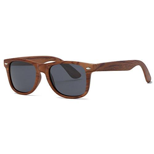 kimorn Polarizado Gafas De Sol Clásico Unisexo Cuerno Rimmed Años 80 Retro AE0300 (Imitación de grano de madera, 52)