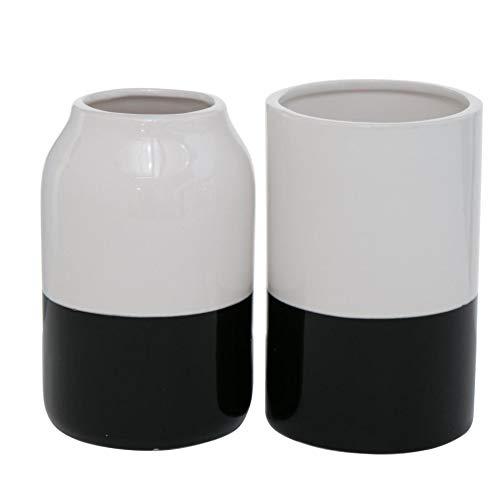 Set di 2 vasi decorativi moderni, in grès porcellanato, colore bianco, nero, altezza 14 cm