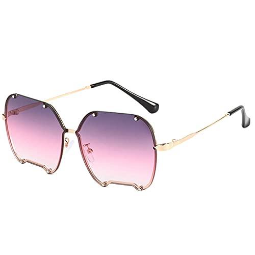 Gafas De Sol Hombre Mujeres Ciclismo Gafas De Sol Irregulares De Metal para Hombre Y Mujer, Gafas De Sol Graduadas A La Moda para Mujer, Gafas Vintage Gris Rosa-Purple_Pink