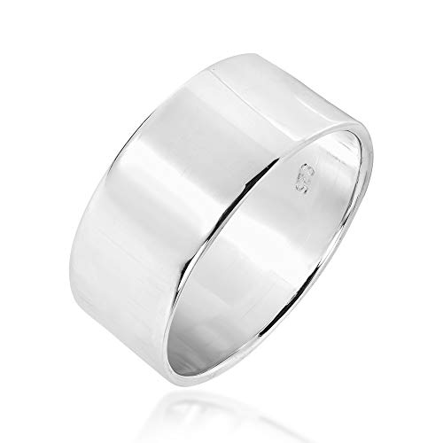 10 mm Wide Plain Band .925 Sterling Silver Ring (6)